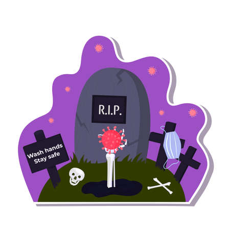Halloween stickers during coronavirus. Skeleton hand sticks out of the grave