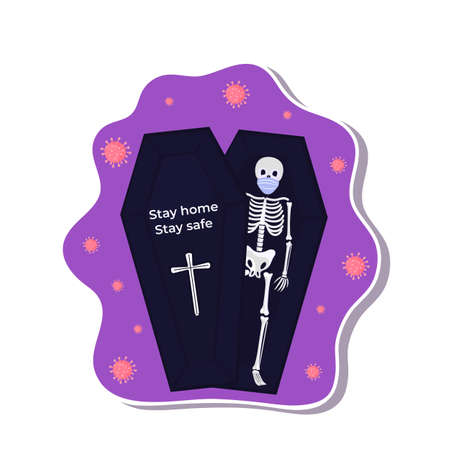 Halloween stickers during coronavirus. Skeleton wears protective mask. Иллюстрация