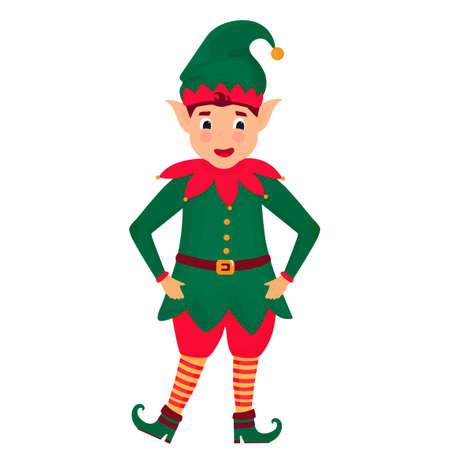 Funny Christmas elf. Vector illustration. Cartoon character. Иллюстрация