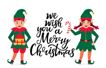 Cheerful elves hold a lollipop and a gift. Greeting card for Christmas and New Year Фото со стока - 158427344