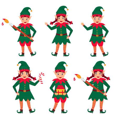 Set of funny Christmas elves. Vector illustration. Cartoon character.