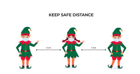 Funny Christmas elves in protective face masks. Keep social distance. Preventive measures during the coronavirus pandemic coivd-19. Иллюстрация