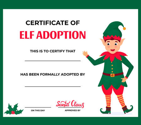 Elf Adoption Certificate for boys and girls Иллюстрация