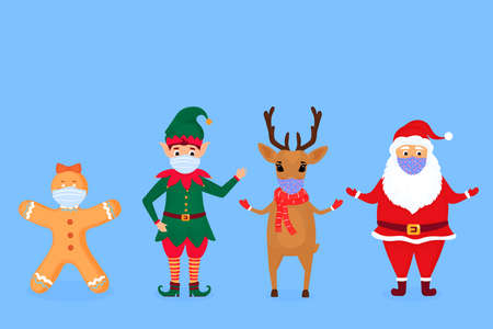 Santa Claus, elf, deer and gingerbread man in protective face masks Иллюстрация