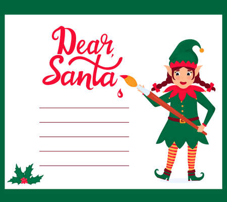 Funny girl elf with a paint brush writes a letter to Santa Claus