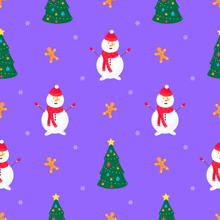 A snowman, a Christmas tree and a gingerbread man. New Years pattern
