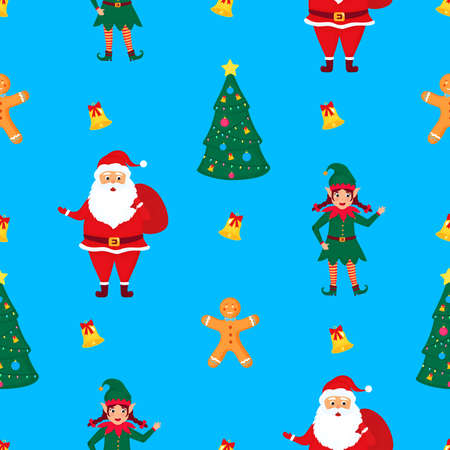 Santa Claus with a bag of gifts, elf and gingerbread man. Christmas and New Years seamless pattern Иллюстрация
