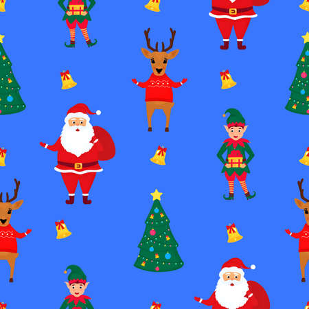 Santa Claus with a bag of gifts, elf and deer in the sweater. Christmas and New Years seamless pattern