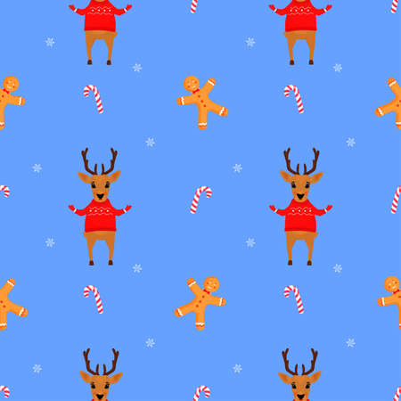 A deer in a sweater and a gingerbread man. Christmas and New Years seamless pattern