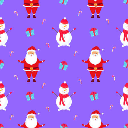 Santa Claus and the Snowman. Christmas and New Years seamless pattern