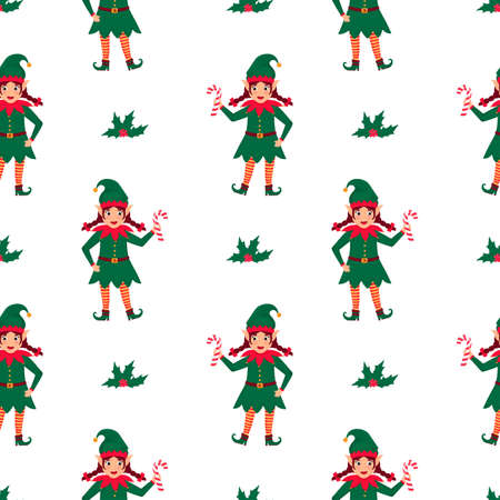 Girl Elf with pigtails holds a lollipop in her hand. Christmas and New Years seamless pattern