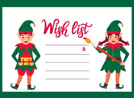 Cheerful elves write a a Wish list Иллюстрация
