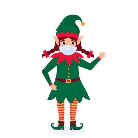 Funny Christmas elf wears a protective face mask. Vector illustration. Cartoon character.