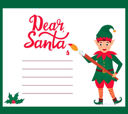Funny elf with a paint brush writes a letter to Santa Claus