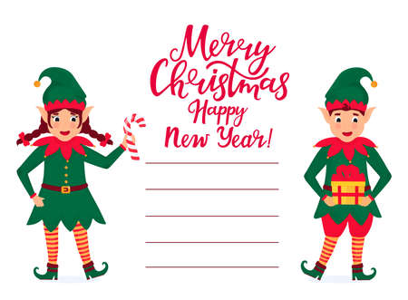 Cheerful elves hold a lollipop and a gift. Greeting card for Christmas and New Year