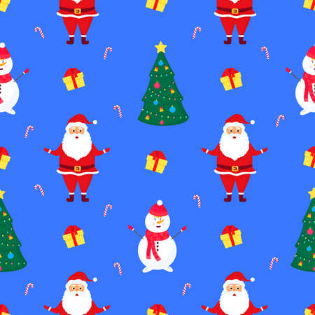 Santa Claus, snowman and Christmas tree. New Years seamless pattern