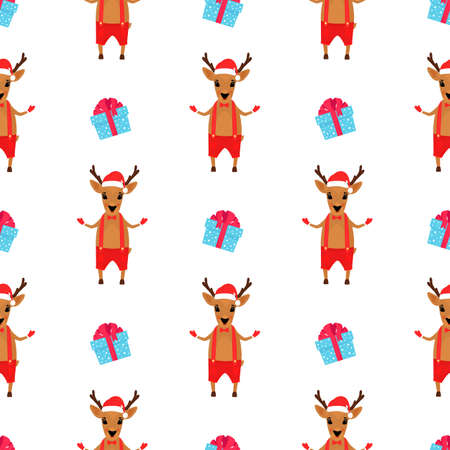 Christmas deer in shorts and Santas hat. New Years seamless pattern