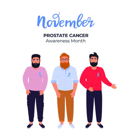 Men with beards and mustaches with blue ribbons pinned to the chest. Prostate cancer awareness month. November. Mens health concept