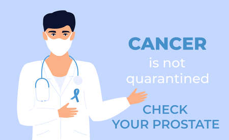 Doctor with blue ribbon on white medical gown and protective mask is showing gesture to stop prostate cancer