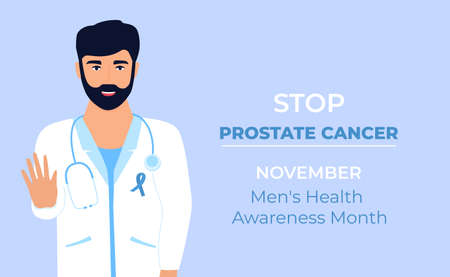 Doctor with blue ribbon on white medical gown is showing gesture to stop prostate cancer