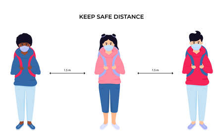 School children in protective face masks. Keep social distance. Preventive measures during the coronavirus pandemic coivd-19.