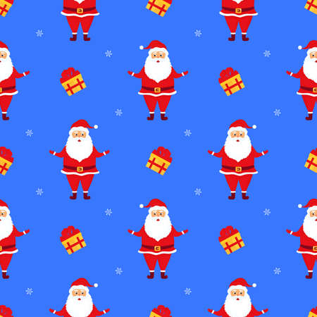 Santa Claus with gifts. Christmas and New Year's seamless pattern.