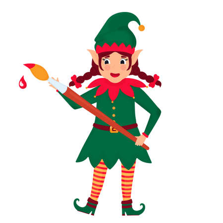 Funny elf with a paint brush. Vector illustration. Cartoon character