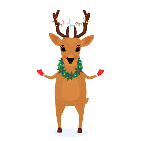 A deer with a wreath of spruce branches and mistletoe around the neck and a Christmas garland on the horns.