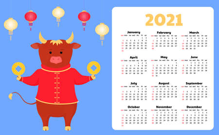 Calendar for 2021 from Sunday to Saturday. Funny cartoon ox. Chinese Happy new year. Bull, cow. Lunar horoscope sign Иллюстрация