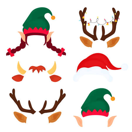 Reindeer antlers with Christmas balls and bells and Santa Claus hat. Funny selfie photo mask. Vecteurs