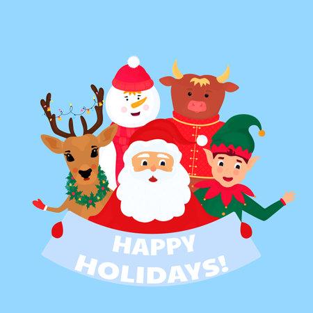 Santa Claus, deer, snowman, elf, bull. Happy Holidays greeting card