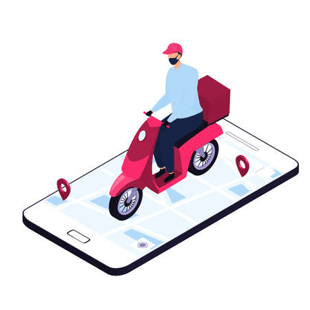 Isometric delivery man in a protective mask delivering parcels by a motorbike. Smart phone with map and geolocation Иллюстрация
