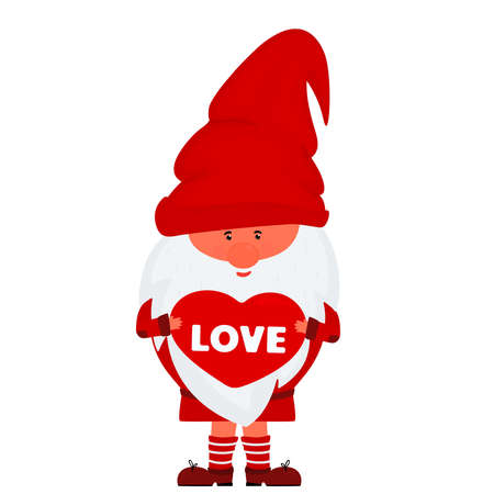 Cute valentine gnome holds heart vector illustration