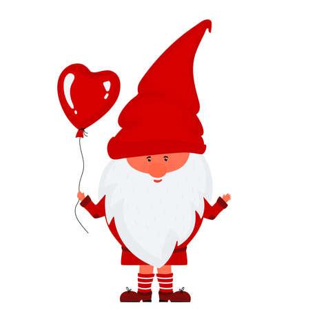 Cute valentine gnome holds heart balloon vector illustration