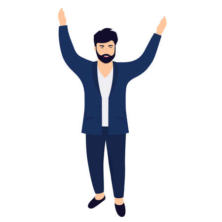 Young bearded man office worker with hands raised up. Иллюстрация