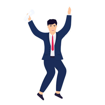 An office worker in a business suit holds a contract in his hands and jumps for joy.