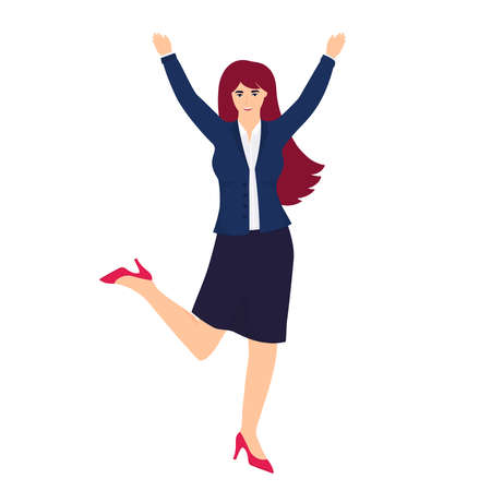 An office worker in a business suit jumps for joy with his hands up. Иллюстрация