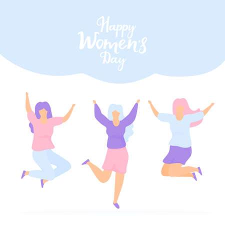 International Womens Day. Sisterhood. Group of young joyful girls jumping with raised hands
