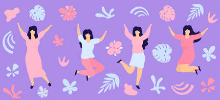 Horizontal banner for International Womens Day. Sisterhood. Group of young joyful girls jumping with raised hands.