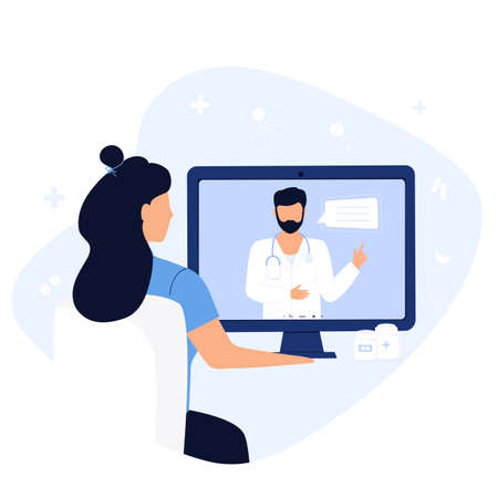 Online doctor consultation. The patient is at a remote appointment with a therapist. A woman has a conversation with a medical worker by video call using laptop. Telemedicine concept.