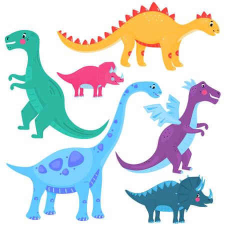 Funny dinosaurs. Dragon. A set of cartoon vector illustrations