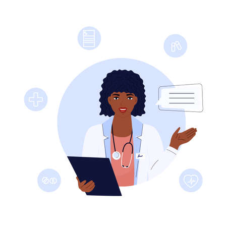 African American woman doctor consults. Telemedicine concept. Chat with a medical worker.