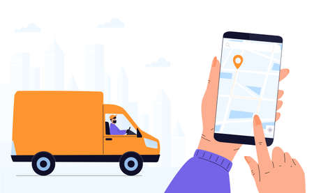 Delivery man in a protective mask delivers parcel by car. Track shipments using the mobile application. Hand is holding smartphone Иллюстрация