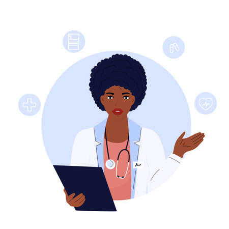 African American woman doctor with a stethoscope and in a white coat is holding clipboard. Telemedicine concept. Chat with a medical worker.