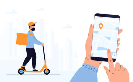 Quarantine.  epidemic. Delivery man in a protective mask delivers parcel by scooter. Track shipments using the mobile application. Hand is holding smartphone