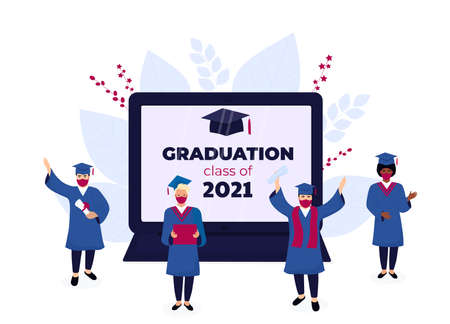 Virtual online graduation ceremony on a laptop monitor during coronavirus quarantine. Tiny graduates in protective masks, in gowns and mortarboards celebrate completion of studies. Class of 2021