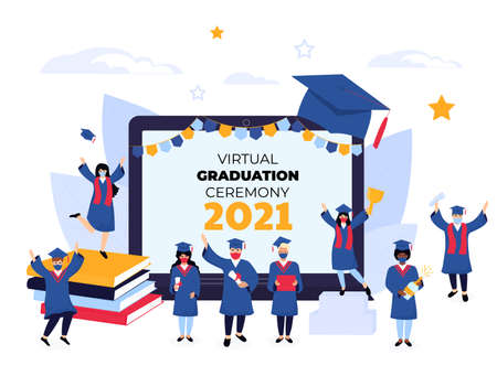 Virtual online graduation ceremony on a laptop monitor during  quarantine. Tiny graduates in protective masks, in gowns and mortarboards celebrate completion of studies. Class of 2021 Иллюстрация