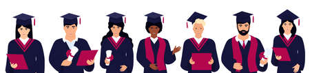 A group of diversity students in graduation gowns and mortarboards. Class of 2021 Иллюстрация