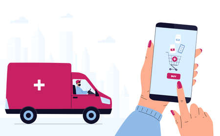 Quarantine  epidemic. Delivery man in a protective mask delivers parcel by car. Hand is holding smartphone to buy pills. Order Medicines Online. Medicament shipping