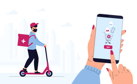 Quarantine epidemic. Delivery man in a protective mask delivers parcel by scooter. Hand is holding smartphone to buy pills. Order Medicines Online. Medicament shipping Иллюстрация